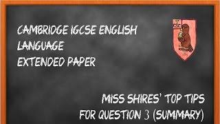 iGCSE English Language Question 3 Revision Tips