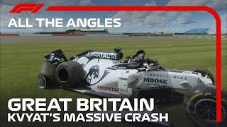 All The Angles | Daniil Kvyat's Massive Crash | 2020 British Grand Prix