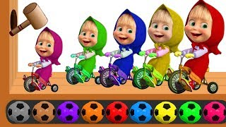Learn Colors with Masha And The Bear Soccer Balls, Wooden Hammer Xylophone, Colours For Kids