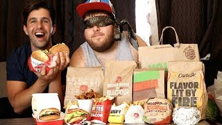 BURGER + BLINDFOLD FASTFOOD CHALLENGE! (GUESS THE RESTAURANT)