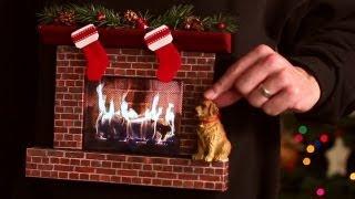 Burning Fireplace Ugly Christmas Sweater (w/ an iPad)