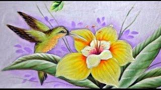 Pintando – Beija Flor e Lírio – No Tecido