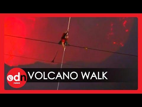Loop oor 'n vulkaan
