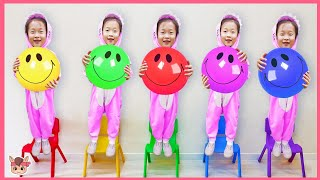 공이 날라와서 맞았어요 ㅠ! 인기 동요 Learning colors with balls, Five little babies jumping on the bed song, colors