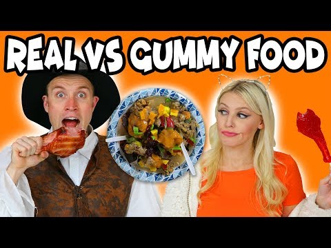Real vs Gummy Food Turkey Dinner. Totally TV