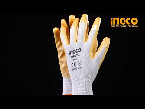 Ingco Heavy Duty Nitrile Anti-Skid Safety Work Gloves