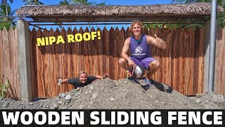 BecomingFilipino – FIRST PHILIPPINES BEACH HOME – Wooden Sliding Fence With Nipa Roof (Davao, Mindanao)