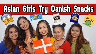 Asian Girls Try Danish Snacks | NATTHAKAN