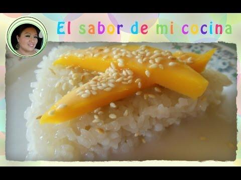 Dia  7  - Arroz pegajoso con coco y mango (estilo Tailandes) - El sabor de mi cocina