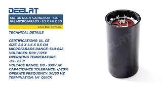 Motor Start Capacitor – 540 – 648 Microfarads - 8.5 x 3.6 x 8.5 cm