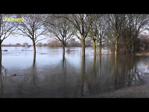 Hoogwater van de Maas in Afferden - 10 januari 2011
