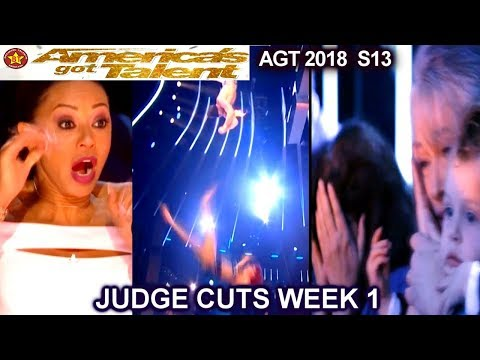Duo Transcend SHOCKING FALL! &After the Fall Trapeze  Duo America's Got Talent 2018 Judge Cuts 1 AGT (видео)