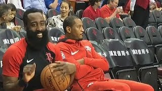 James Harden Tries To Have Fun But Carmelo Anthony Isn