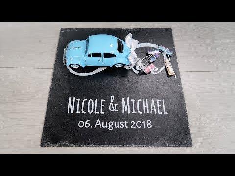 Geldgeschenk zur Hochzeit | Schieferplatte mit Namen des Brautpaars und Datum als Hochzeitsgeschenk