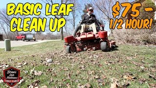 How To Do A Residential Spring Clean Up - $75 in 1/2 Hour, Basic Leaf Clean Up, Bagging Leaves!