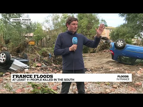 France flash floods: floodwaters engulfed villages, swept away cars