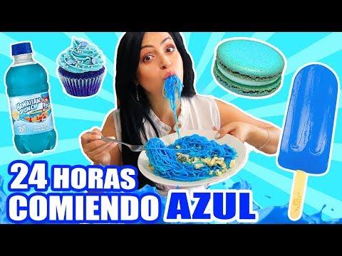 24 HORAS COMIENDO AZUL | RETO SandraCiresArt | All Day Eating Blue Food Challenge