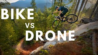 RACE DRONE Chases PRO MOUNTAIN BIKER down INSANE Trails