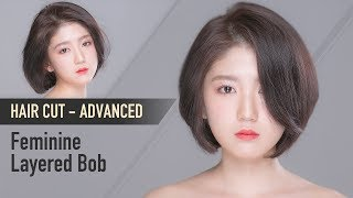 [Eng_Sub] How To K-Beauty Feminine Layered Bob Step By Step_Short Hairstyle