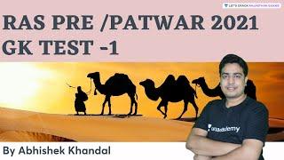 GK Test   Part 1   RAS Pre/PATWAR 2021   By Abhishek Khandal