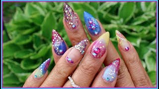 Bomb SPRING NAILS! | Colored ACRLYIC NAILS w Glitter!