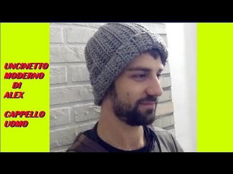 BERRETTO CAPPELLO UOMO uncinetto tutorial ogni taglia