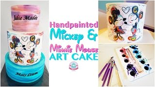 HANDPAINTED Mickey & Minnie Mouse ART CAKE | Abbyliciousz The Cake Boutique