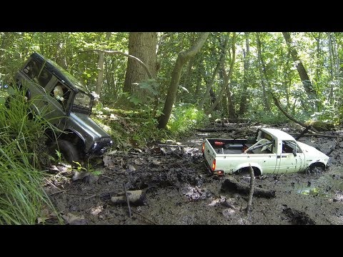 RC Trucks-RC4WD D90 & Trail Finder 2 Mudding Trail-4x4 RC Adventure!