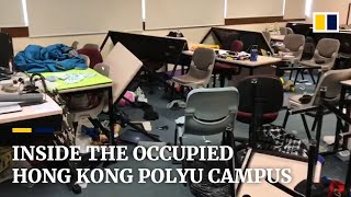 Inside the occupied Hong Kong Polytechnic University campus