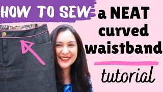 How To Sew: NEATEST Curved Waistband. Sally Jean Skirt (Style Arc).  Reverse Method