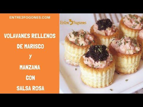 Volavanes Rellenos de Cangrejo y Manzana con Salsa Rosa  #entre3fogones