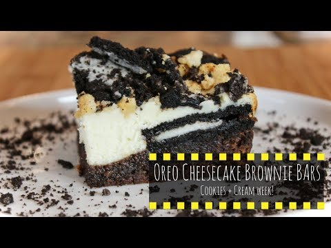Oreo Cheesecake Brownie Bars (w/original and golden oreos) *OREOS/COOKIES + CREAM WEEK!*