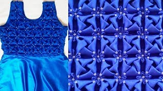 Whirl Pattern Frock Making At Home In Hindi Smocking Origami  Flower Dress Design Girl Cushion