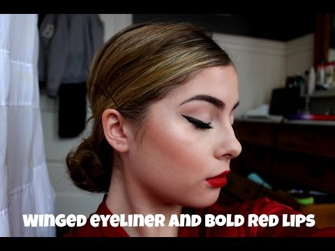 CLASSIC WINGED EYELINER/CAT EYE AND BOLD RED LIPS