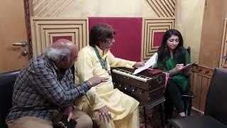 song Brahma Kumari Diwali song rehersal wit Music Director Dilip Sen, Singer Bhoomi Trivedi ji, Writer Sudhakar Sharma ji
