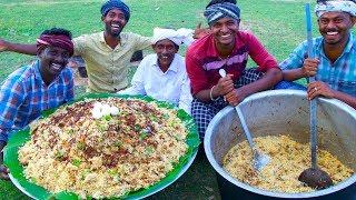 BIRYANI   TRADITIONAL PRAWNS BIRYANI   Hyderabadi Style Dum Biryani Recipe Cooking In Village