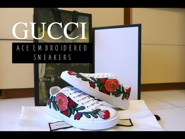 a68897753 GUCCI FLORAL EMBROIDERED ACE SNEAKERS UNBOXING & TRY ON ♕ XO'SJOCELYN 03:53  642