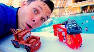 Фёдор и игры гонки - Тачки в Аквапарке! - Маквин vs Шторм.