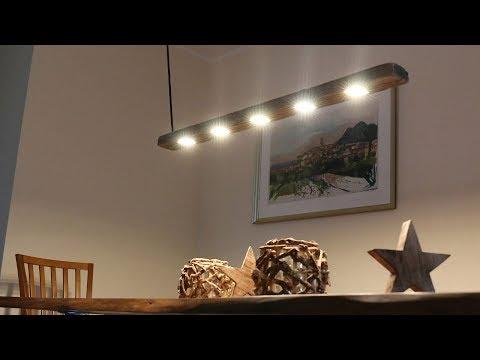 Designer Esstischlampe aus Treibholz mit Akzentbeleuchtung