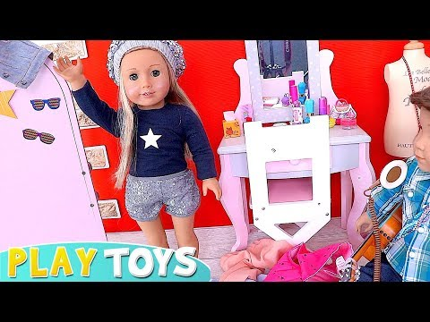 Mess in the Changing Room! Play AG Dolls Dress up and Make up Toys! 🎀
