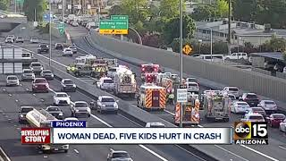 Woman dead, kids hospitalized after I-17 crash