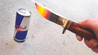 1000 DEGREE KNIFE VS REDBULL! (EXPLODES)