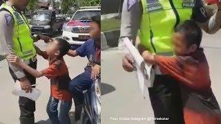 Viral Video Bocah Menangis hingga Peluk Polisi yang Menilangnya, Takut Dipenjara dan Dimarahi Mamak