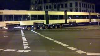 preview picture of video 'Transport einer Straßenbahn nach Bautzen'