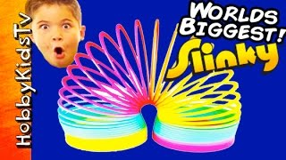 Worlds Biggest SLINKY Surprise Egg! POOL Party + Toys, Puppy Robot Toots HobbyKidsTV