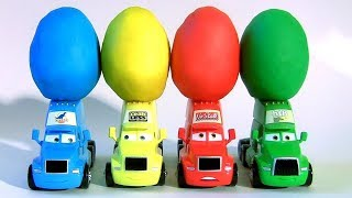 Surprise Toys 4 Color Play Doh EGG Learn Colors with Disney Cars Trucks