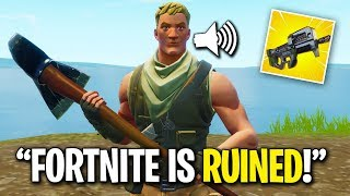 NOOB FREAKS OUT OVER NEW SMG ON FORTNITE... (He Hates It)