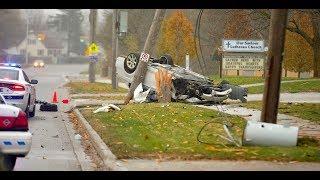 Single car leaves trail of destruction