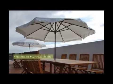 Sombrillas redondas y octogonales - Muebles de madera y jardín .COM