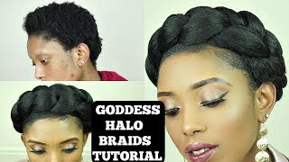 How To Easy Goddess Crown/Halo Braids Tutorial On Short 4C Natural Hair